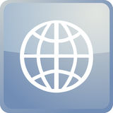 Globe navigation icon. Glossy button, square shape Stock Photography