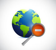 Globe and a negative magnify glass Royalty Free Stock Photography