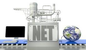 Globe net de concept, d'ordinateur et de terre Photographie stock libre de droits