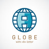 Globe net with A letter inside sign. Corporate logo template Royalty Free Stock Photo