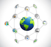 Globe network communication concept illustration Stock Photo
