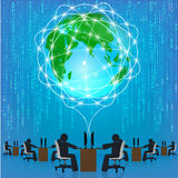 Globe network connection. Matrix technology Royalty Free Stock Photo