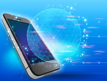 Globe network connection with mobile phone Stock Image