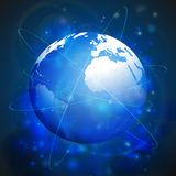 Globe network connections, blue design background Stock Photos