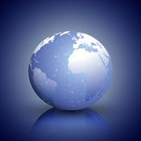 Globe network connections, blue design background Royalty Free Stock Images