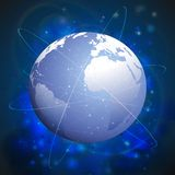Globe network connections, blue design background Royalty Free Stock Photo