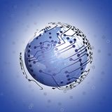 Globe network connections, blue design background Stock Photo