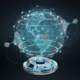 Globe network hologram projector with digital connection 3D rend. Globe network hologram projector with digital connection on dark background 3D rendering Royalty Free Stock Photos