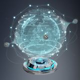 Globe network hologram projector with digital connection 3D rend. Globe network hologram projector with digital connection on grey background 3D rendering Stock Image