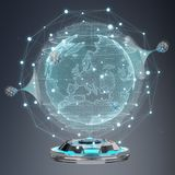 Globe network hologram projector with digital connection 3D rend. Globe network hologram projector with digital connection on grey background 3D rendering Stock Photo
