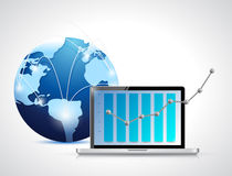 Globe network and laptop business graph Stock Photos