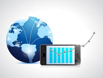 Globe network and phone business graph. Illustration design over white Royalty Free Stock Photo