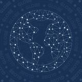 Globe network symbol. Alluring constellation style symbol. Attractive network style. Modern design. Globe symbol for infographics or presentation Stock Image