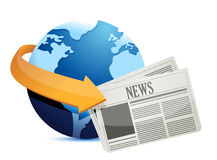 Globe news around the world Royalty Free Stock Image