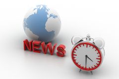 Globe News Text And Alarm Clock concept  Stock Image