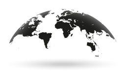 Globe noir de carte du monde d'isolement sur le fond blanc Image stock