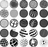 Globe noir et blanc d'icônes illustration stock