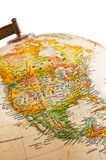 Globe - North America. Part of a globe with map of North America royalty free stock photo