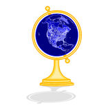 Globe North America at night as engraving vintage vector Royalty Free Stock Photo