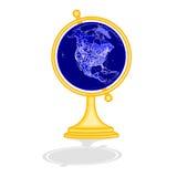 Globe North America at night as engraving vintage vector. Illustration Royalty Free Stock Photo