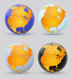 Globe and North America. Set of multi-colored globes of America Stock Photography