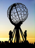 Globe at North Cape / Nordkapp. A silhouette of the globe sculpture at the northest point of Europe - North Cape (Nordkapp Stock Image