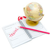 Globe, a notebook and pencil on white background Stock Photography