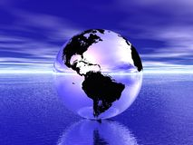 Globe in ocean Royalty Free Stock Photos