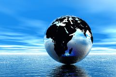 Globe in ocean Stock Images