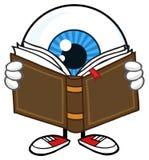 Globe oculaire bleu Guy Cartoon Mascot Character Reading un livre illustration libre de droits