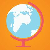 Globe on orange. Background in flat design Royalty Free Stock Image