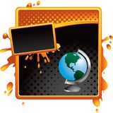 Globe on orange and black halftone template Royalty Free Stock Photos