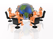 Globe and orange mans Royalty Free Stock Images
