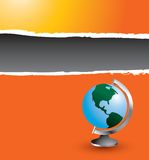 Globe on orange ripped banner Royalty Free Stock Photos