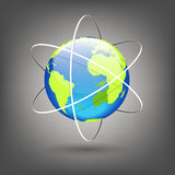 Globe with orbits. Vector illustration of globe with orbits Royalty Free Stock Photo