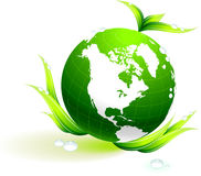 Globe on organic leaves background Stock Images