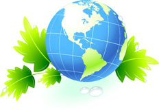Globe on organic leaves background Royalty Free Stock Photography