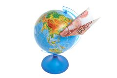 Globe with origami plane made from money isolated on white Stock Photography