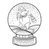 Globe ou boule de neige de neige d'ensemble de vecteur avec le flocon de neige en baisse et le porc mignon dans le noir d'isoleme illustration stock