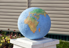 Globe. Outdoor sculpture. Hlevnoe. Russia Stock Photo