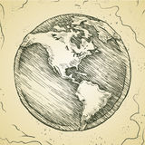Globe outline drawing. Vector doodle sketch. Royalty Free Stock Image