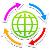 Globe outline symbol and arrows Stock Photography