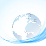 Globe over blue swoosh lines Stock Photography
