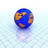 Globe over grid. Global communications concept background Stock Photo