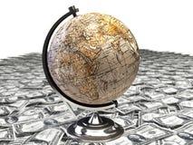 Globe over many dollar Stock Photos