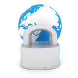 Globe and padlock Royalty Free Stock Photo