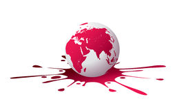 Globe with Paint Splash Royalty Free Stock Photography