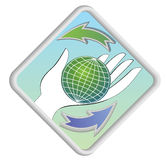 Globe on palm with arrows as symbol of renewability Stock Images