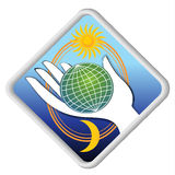 The globe in the palm - eco symbol with sun and moon Royalty Free Stock Images