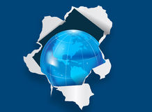 Planet Earth through torn paper. Illustrated planet Earth through torn blue paper with copy space vector illustration